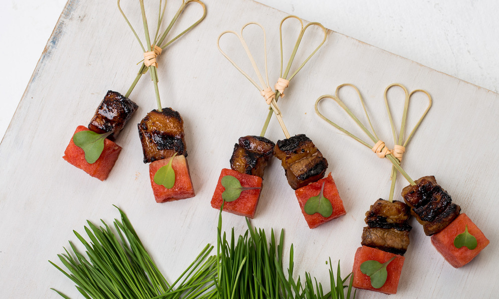 Korean BBQ Short Rib Skewers, Pickled Watermelon
