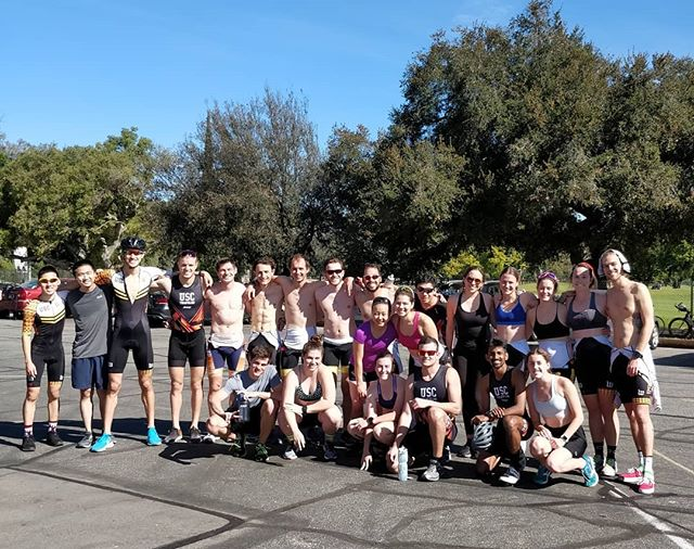 It's been a while since we visited our favorite practice haunts. A big group practicing transitions and mini-bricks at the Rose Bowl today!  #triathlontraining #triathlon #transitions #biking #running #bikelife #bikerun #draftlegal  P. S. @adamroeder what are those abs!!