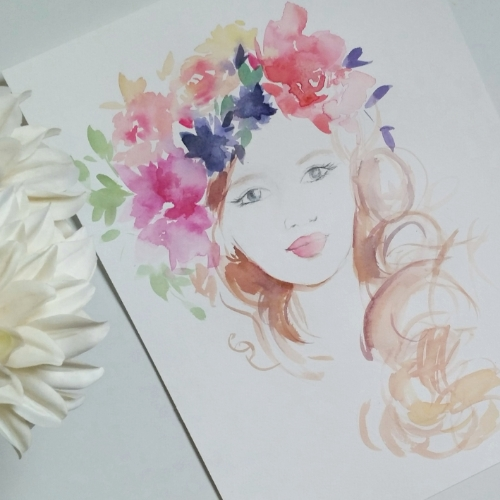 watercolour girl with floral crown