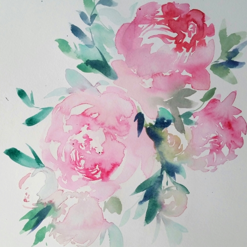 pink peonies watercolour floral