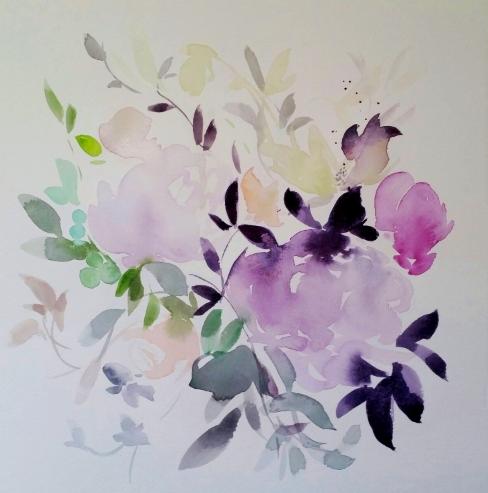 watercolour floral bouquet violet magenta