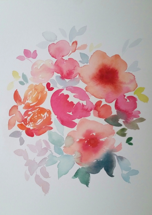 Watercolour floral coral flower bouquet