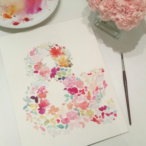 floral ampersand watercolour