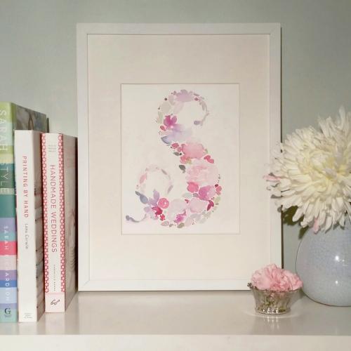 floral watercolour initial monogram wall art nursery decor