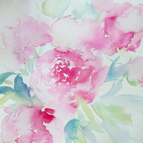 pink peonies watercolour bouquet