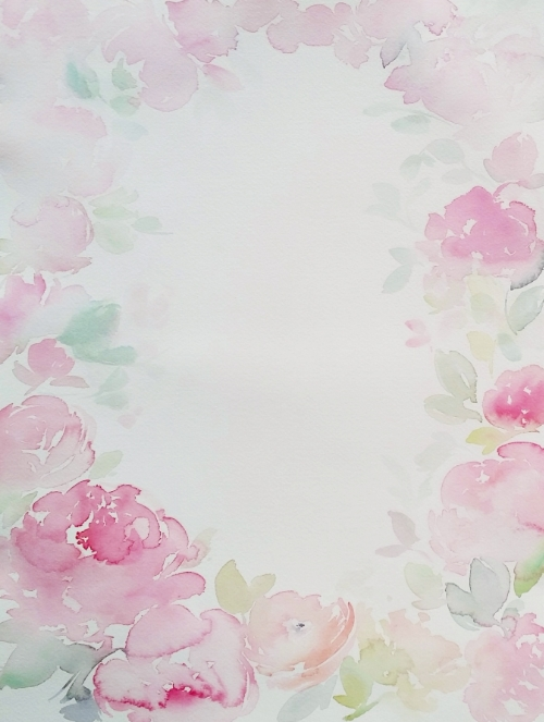 floral peony watercolour boarder