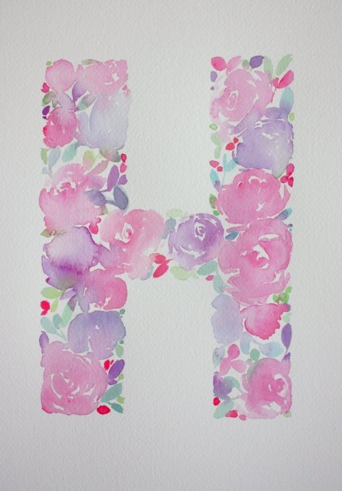 Floral Monogram Watercolour Letter