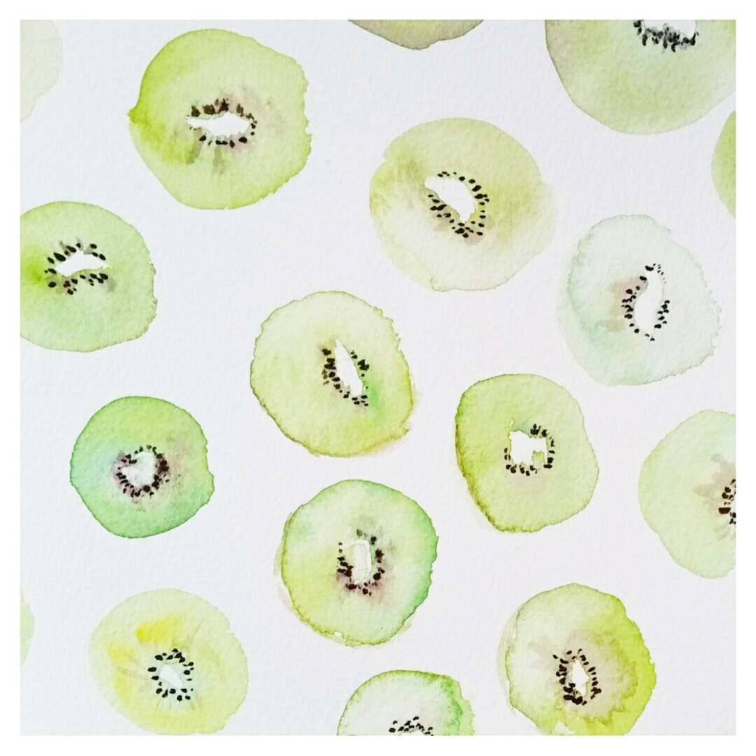 Abstract Watercolour Kiwi Print
