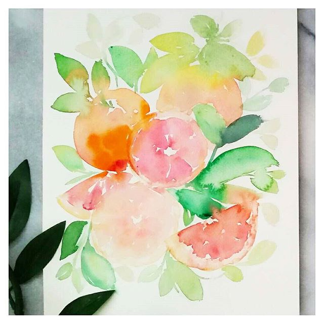 Grapefruit Citrus Watercolour Painting