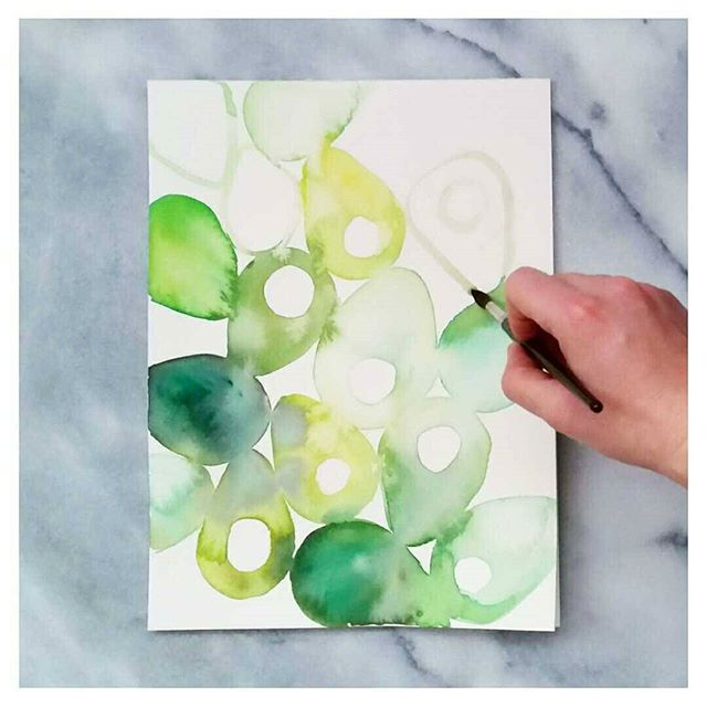 Abstract Watercolour Avocado