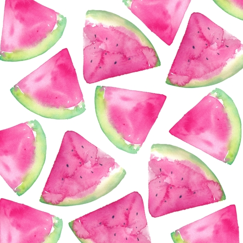 pink watermelon watercolour slices