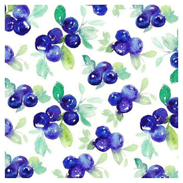 watercolour blueberry print