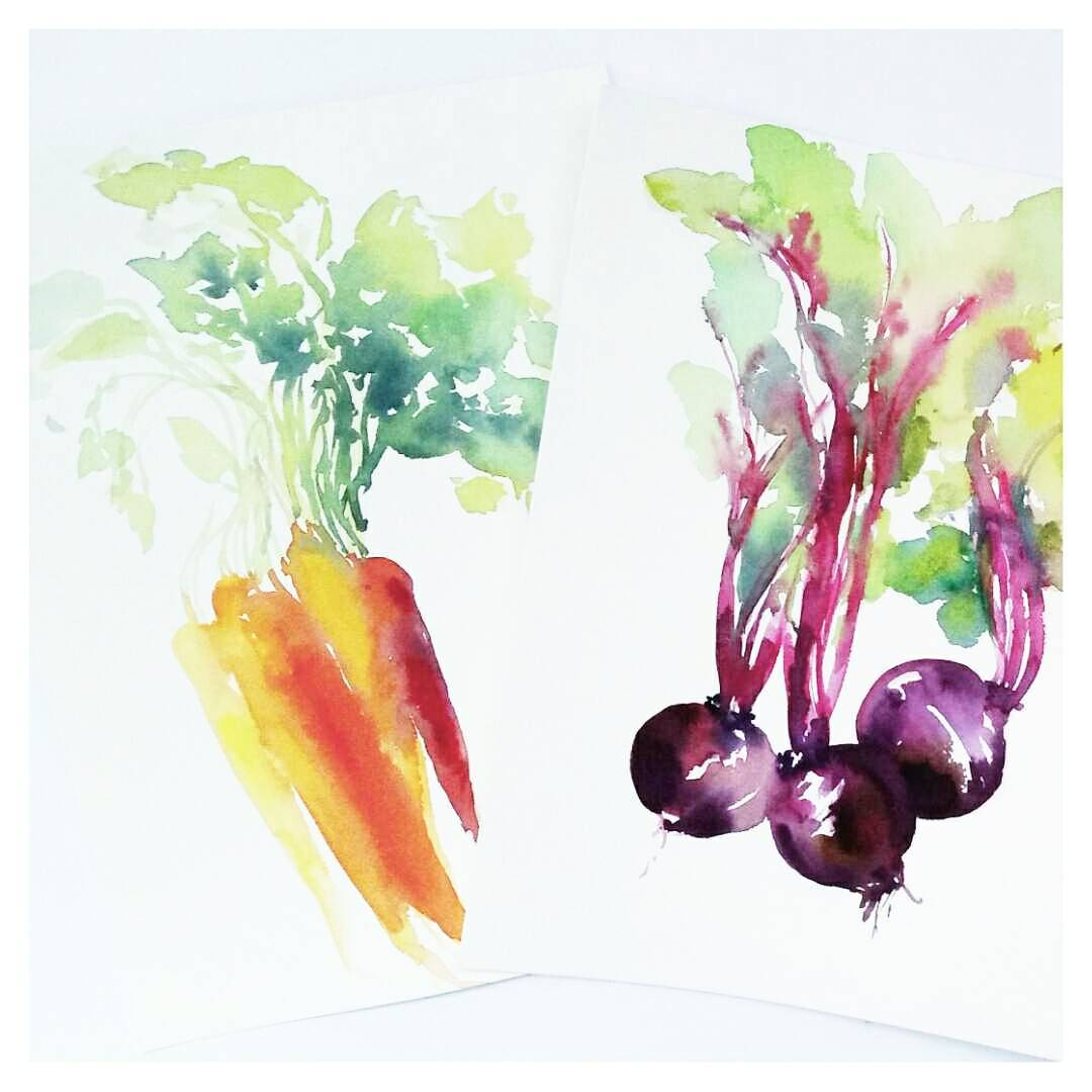 watercolour carrots and beets