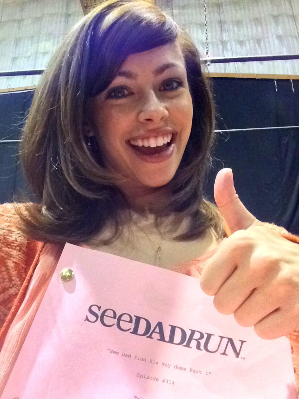 on set as Katie in See Dad Run