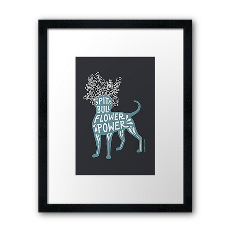 PIT BULL FLOWER POWER DESIGN PRINT . Available in  teal  and  pink . Many options to choose from:  poster ,  canvas print ,  photo print ,  art board ,  framed print,   metal print,  and  acrylic block .