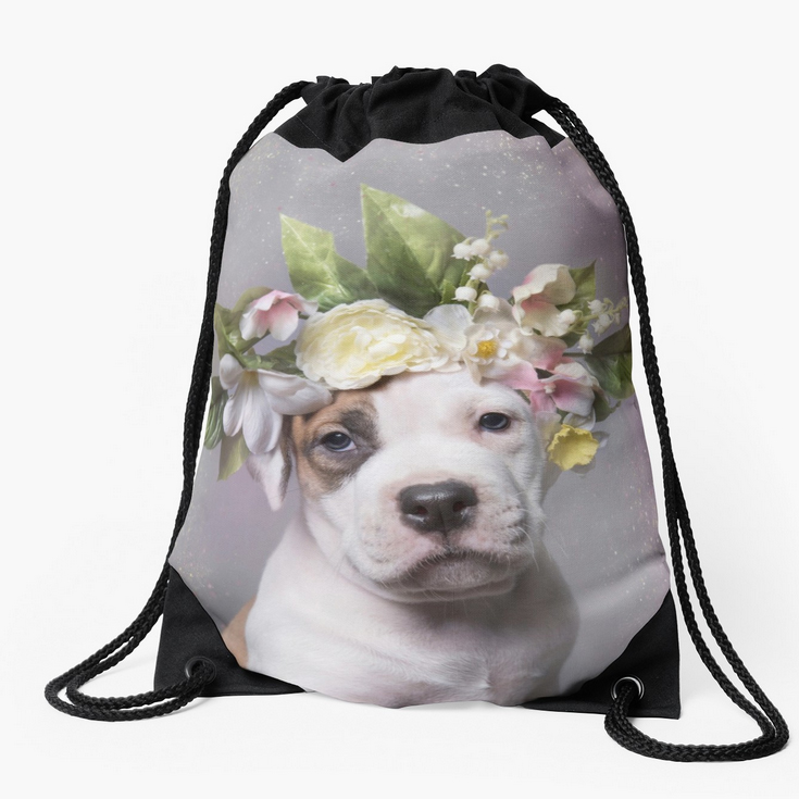 DRAWSTRING BAGS.  Made from 100% polyester woven fabric. Includes zipped pockets. Wide, soft drawcord that's easy on your shoulders. Durable quality metal grommet. Long-lasting printed design on both front and back.