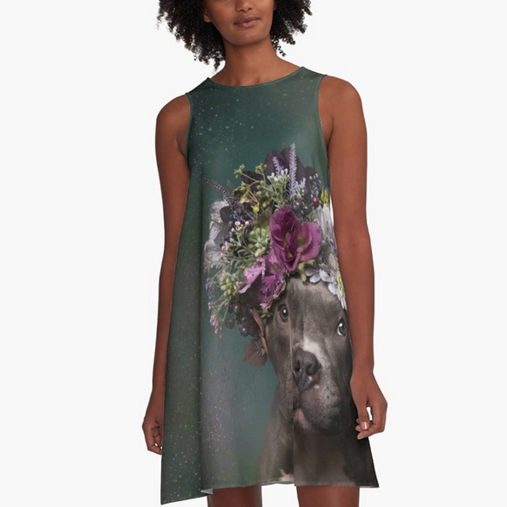 A-LINE DRESS.  Loose swing shape and an easy, flowy fit. Print covers entire front and back panel. 97% polyester, 3% elastane woven dress fabric with silky handfeel. Made in the USA.