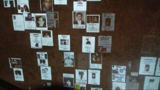Images of notices posted by loved ones of those who were missing on that fateful day