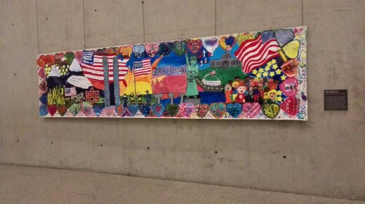 Mural created for the people of New York from the students of the Porter Gaud Lower School in Charleston, South Carolina. Years later, its creators learned that their mural had enlivened a wall in the children's area of the Family Assistance Centre established by New York City to aid relatives of the 9/11 victims.