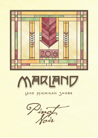 MARLAND PINOT NOIR - Resembling the Pinot Noirs produced in the cooler climes of Burgundy, our Lake Michigan shorelines are complementary to the growing vagaries of this grape. Vinified to produce soft tannins, this wine is elegant and pleasing in the glass; pie cherries, pomegranates, red currants, tea and spices.
