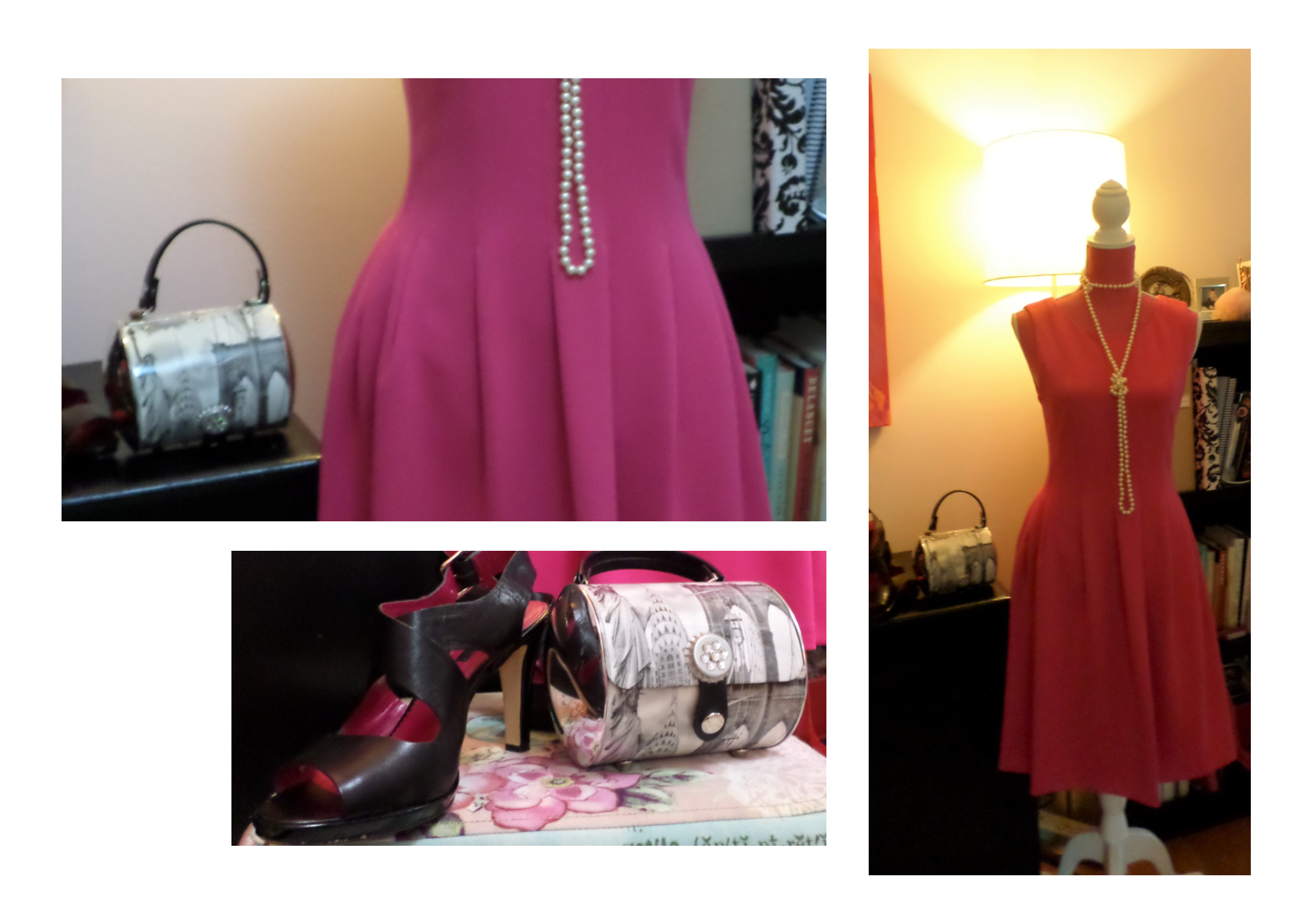 A closer look at the pleating and my shoes and handbag as well