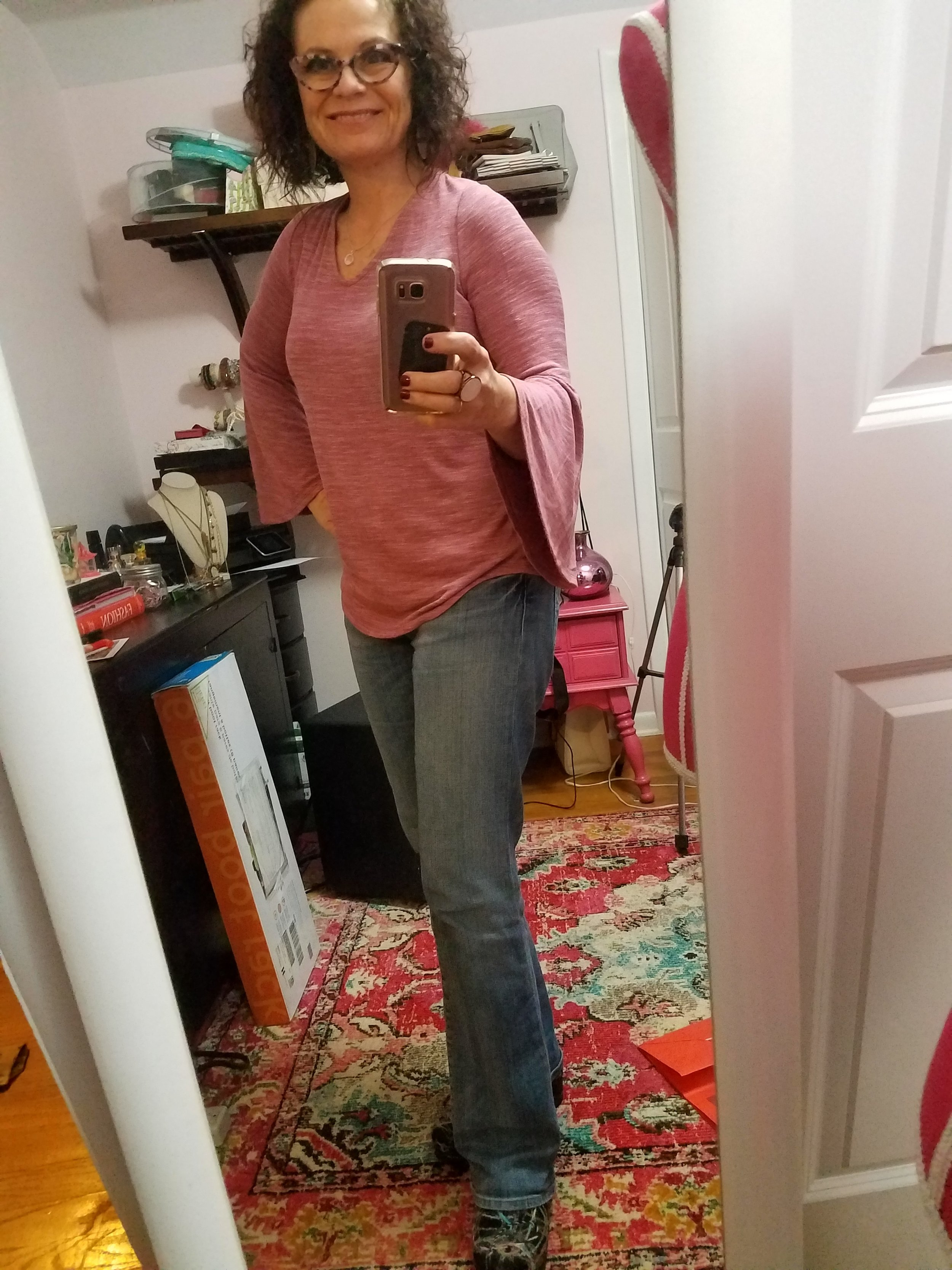 """Oy - life is real and messy in the background but this was a great casual day look and the top was a gift from the Mr. as well. I love the simplicity of the tee but the """"freshness"""" of the bell sleeve. I also love the color, especially at this time in the season."""