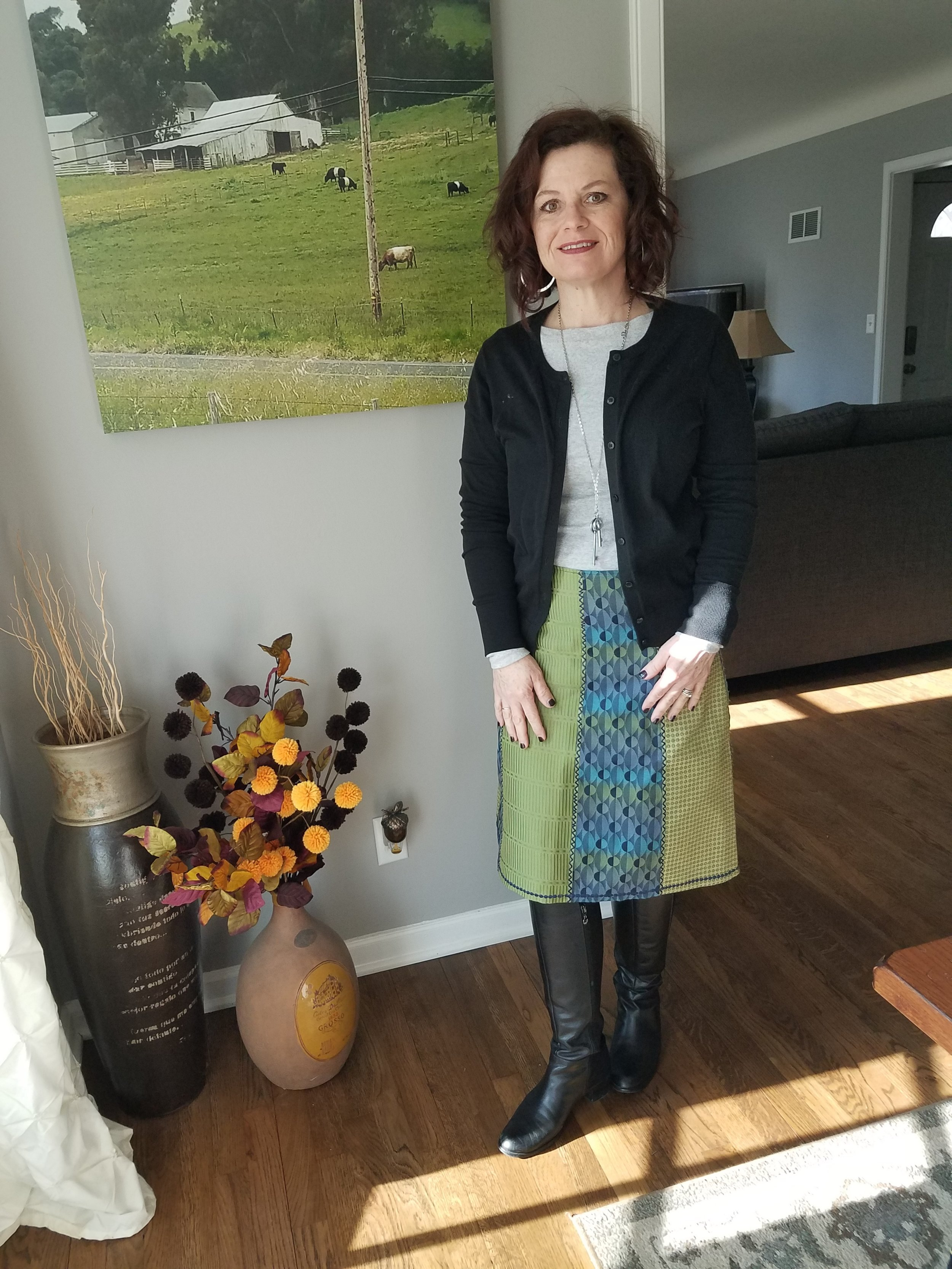 This skirt was a great consignment find that will be seen again in Spring. When paired with white or a lighter color the blues and greens will pop even more.