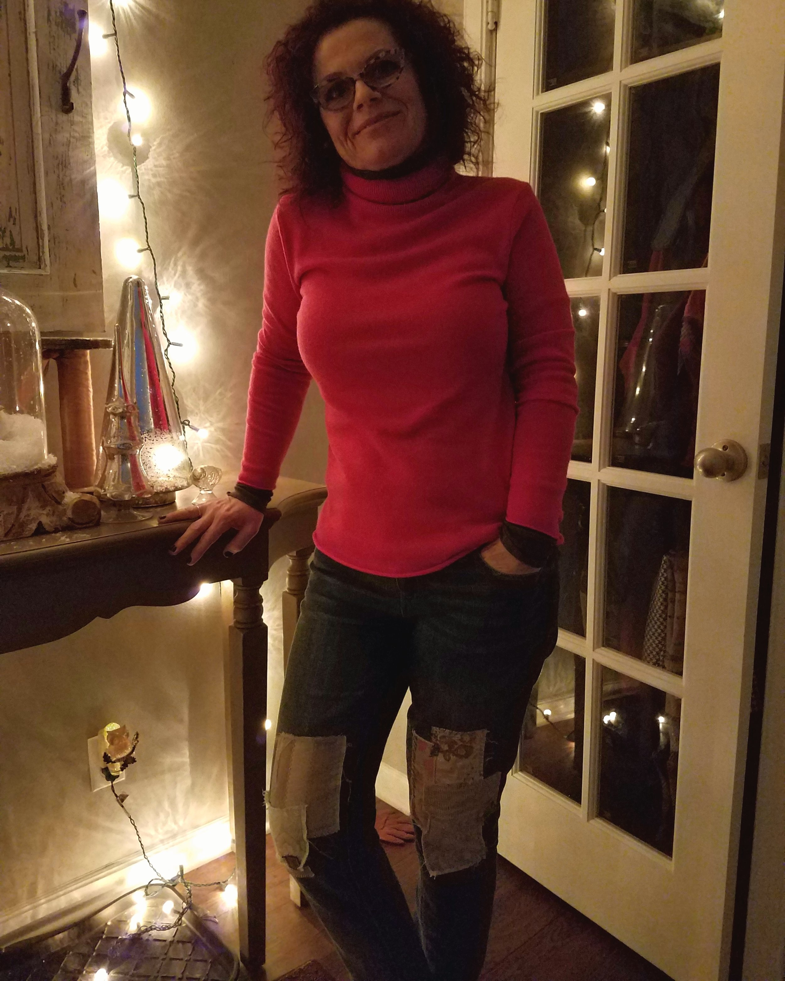 """Another bright pop of color with patchwork jeans for a cozy date night. One of my """"Winter Uniforms"""" tends to be a turtleneck and jeans. The turtleneck is often black or gray - it's nice to mix it up a bit with this great color."""