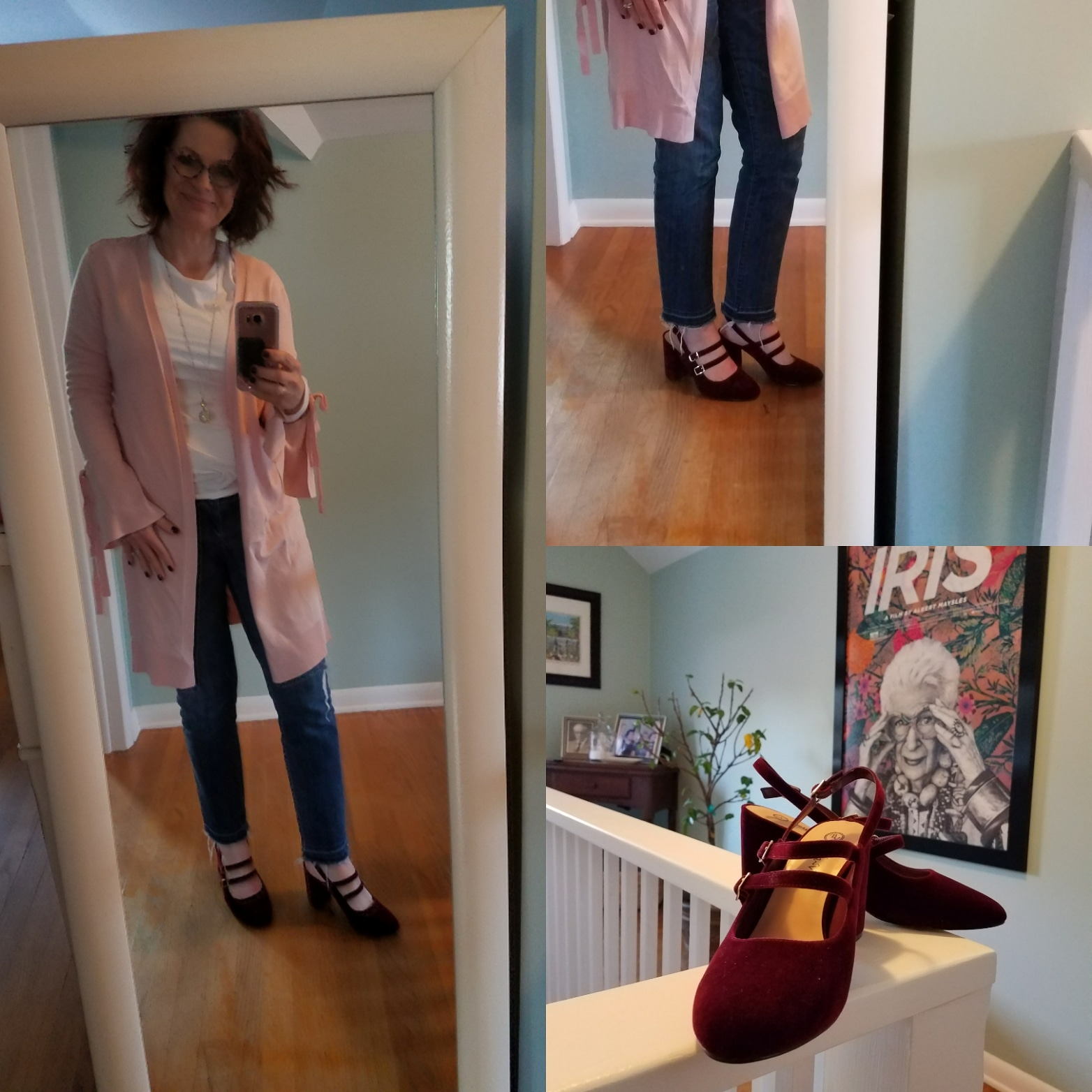 There was finally a run of a few days where I could wear my new shoes - I love the color combo of the shoes with the soft pink cardigan. Because the cardigan is longer I am comfortable pairing it with a skinny jean.
