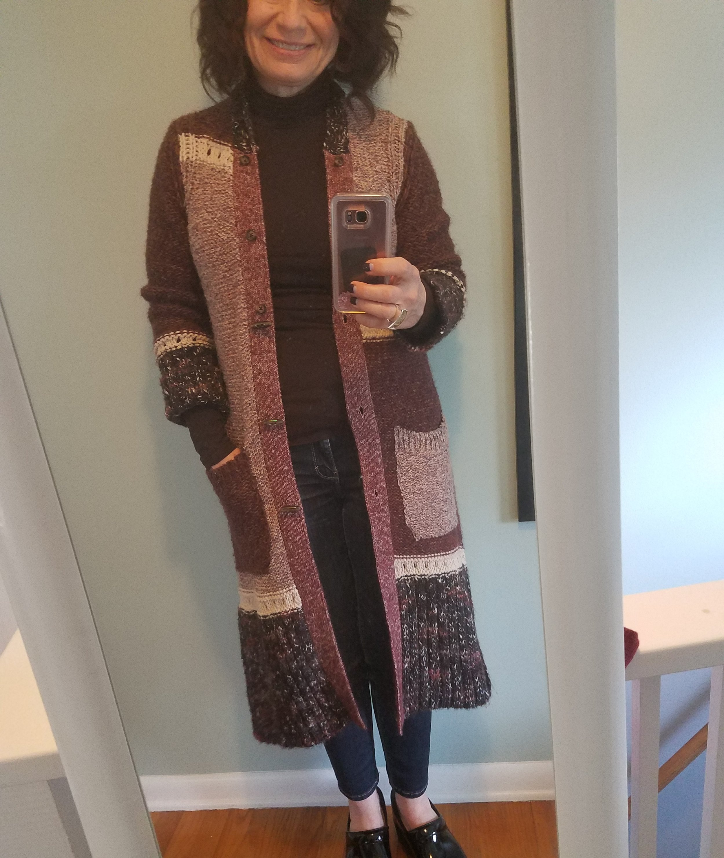 Long Cardi - This beautiful cardigan was a gift from the Mr. last year for Christmas.  It has a removable fur collar that chose not to wear on this day.  The muted colors in this sweater make it easy to wear with almost anything.  I have a turtleneck and distressed jeans on with my danskos and I was cozy and comfortable.