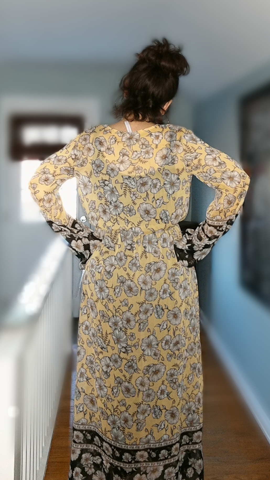 Dress with Leggings - The back view. Obviously the dress is sheer so the black pieces underneath are a great compliment, I think. I may try white at some point but I am usually not a fan of white so I doubt I would like it, for me.