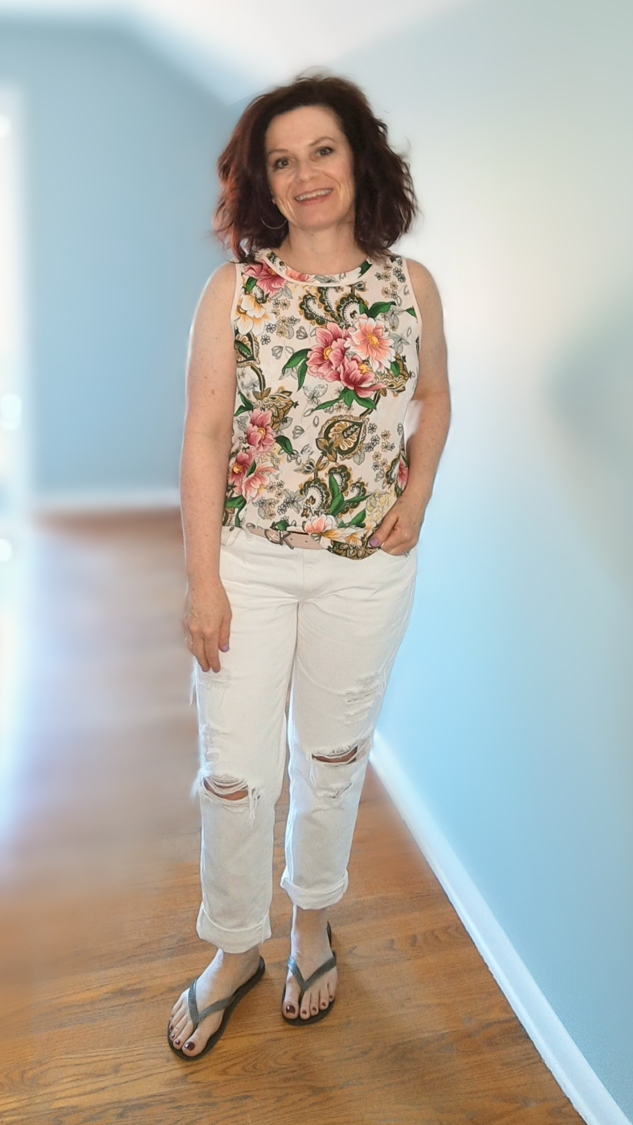 floral tank white jeans.png