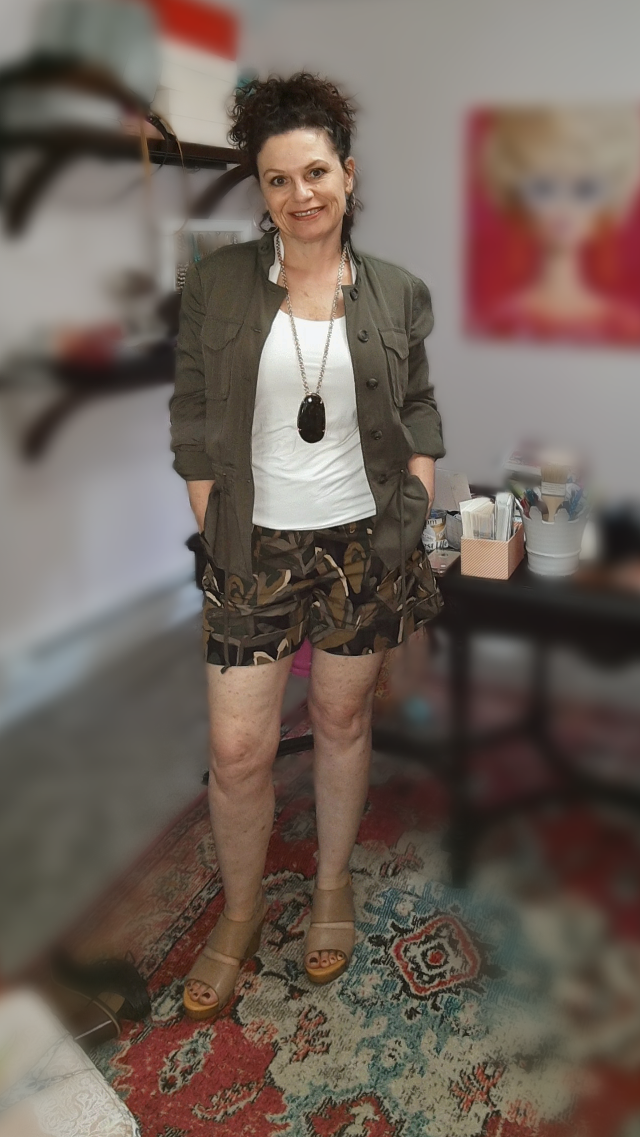 Casual dressy - I have the shorts here with a soft utility jacket, a cream sleeveless top, and my chunky necklace.  I added the blush shoes for a different look.  If I wanted to change the look again I would switch the necklace for a short multi-strand pearl necklace.  If I wanted to change it yet again,  I would swap the shoes for my black strappy sandals.  Options!!