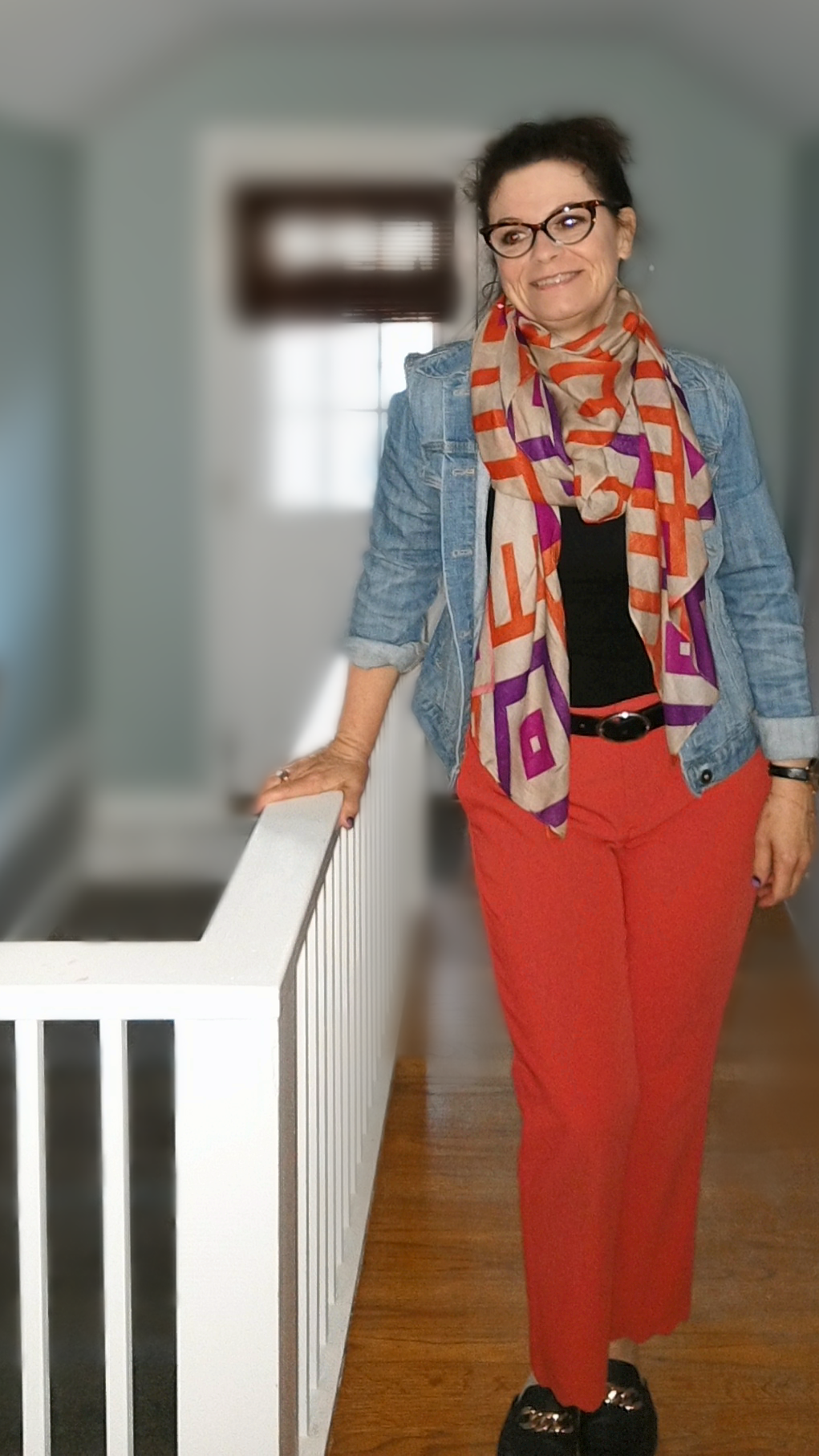 Full Color bottom with more color on top - If you like to wear color throughout your outfit, try making your accessories the extra pop of color.  I wore this great tomato orange pant, black tshirt, denim jacket and then more color with a coordinating scarf.