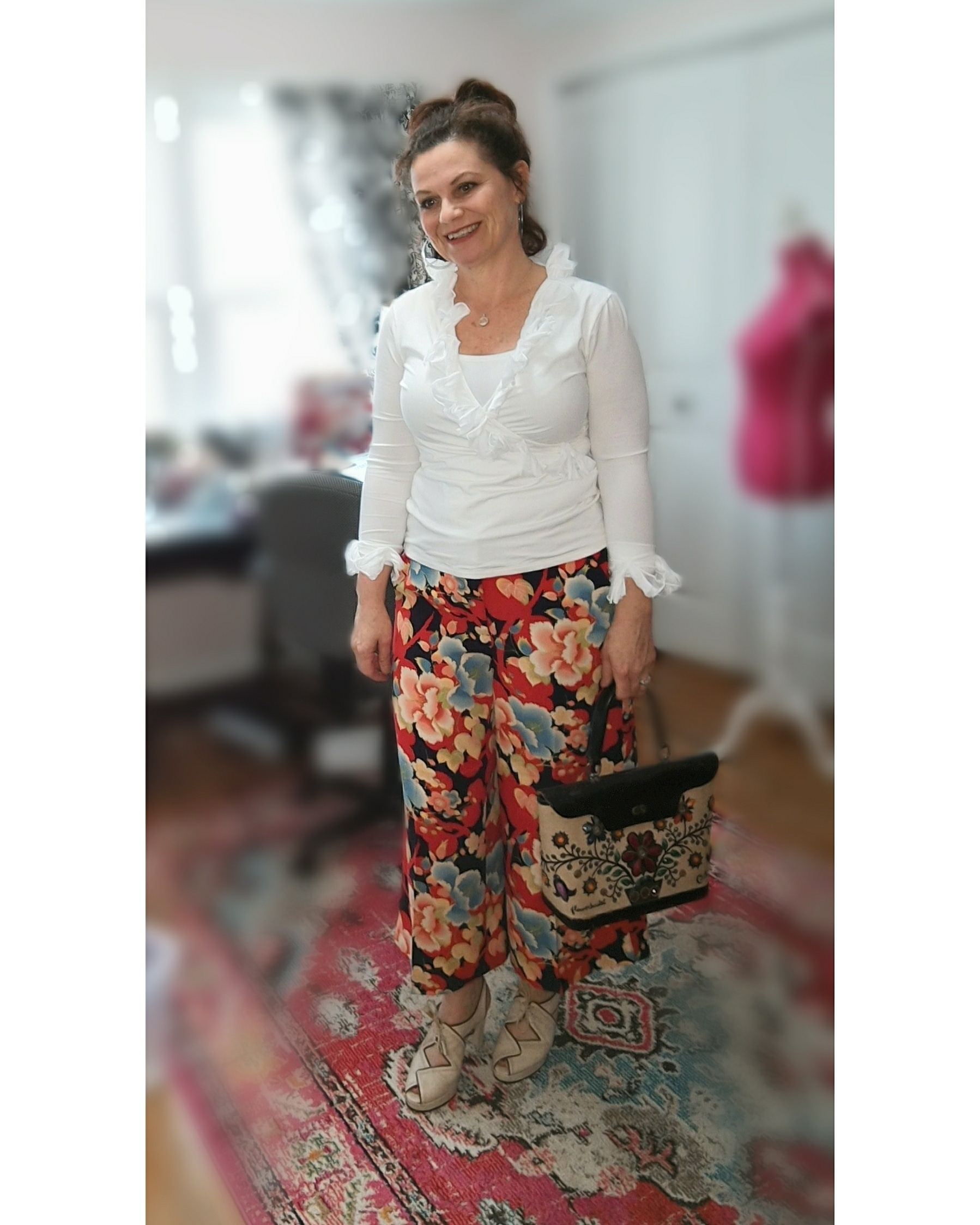 Go full color with a Print! - Be bold in your color choice with a colorful print pant, skirt, or dress.  When I wear these pants I tend to keep the top either white or denim but you could easily pull any of the colors thru.