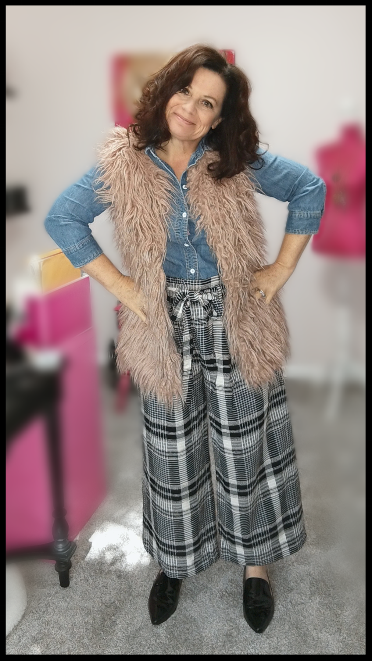 Unexpected…denim shirt and vest. - A classic denim shirt paired with these pants is a great look. I've added my pink vest for a little, well, extra. In this picture I am wearing the same flats I've already linked but again, the possibilites are great for footwear options.