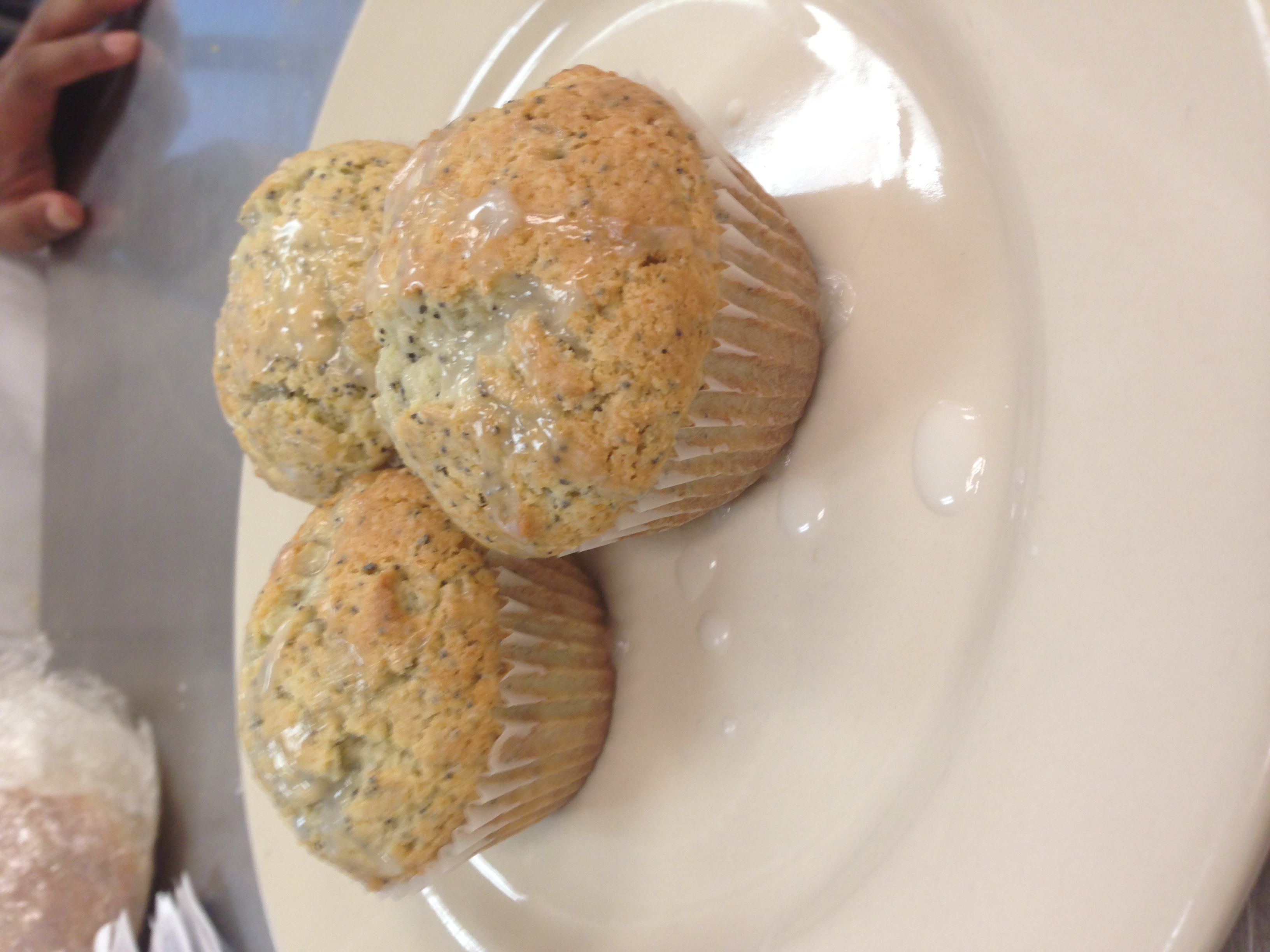 Lemon poppy seed muffins with a lemon glaze