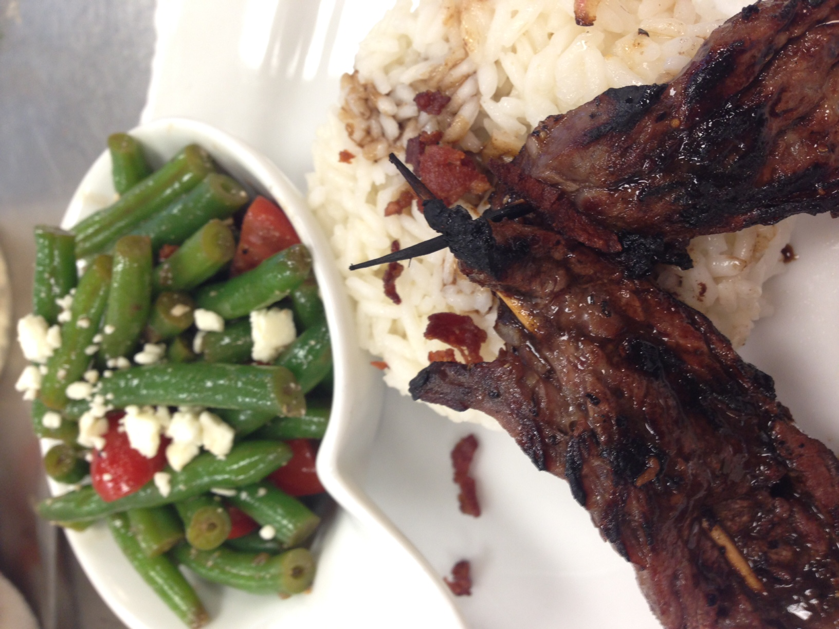 Grilling Week! Grilled flank steak, bacon balsamic reduction, green bean feta salad.