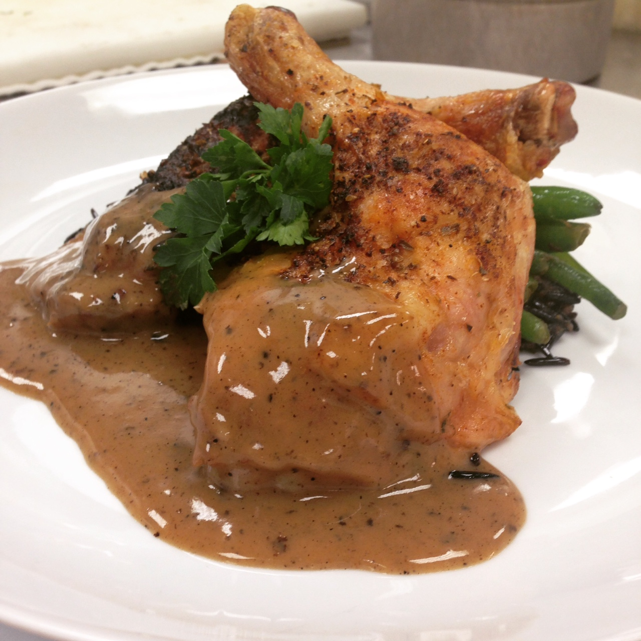 Roasting week! Roasted chicken with pan gravy, green beans and wild rice pilaf.
