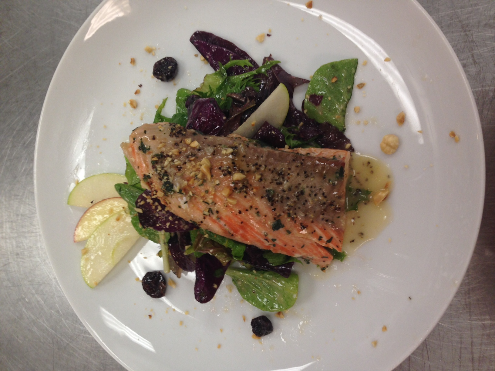 Smoked salmon with a fresh greens and toasted hazelnut and cherry salad-American Regional