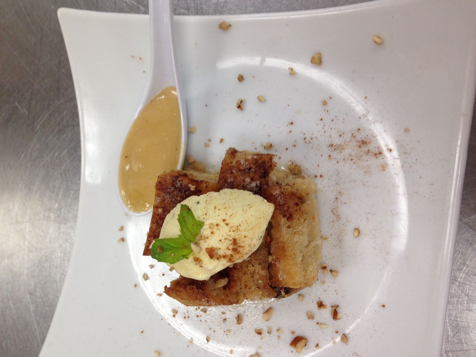 Bread pudding with whiskey butter sauce and black pepper ice cream-American Regional