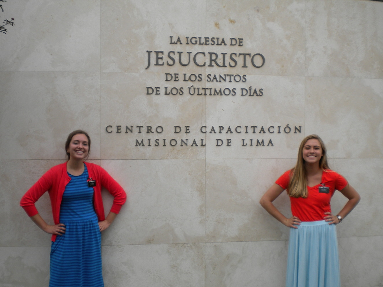 """Hermana Monson and Hermana Rasmussen in front of the temple & """"CCM"""""""
