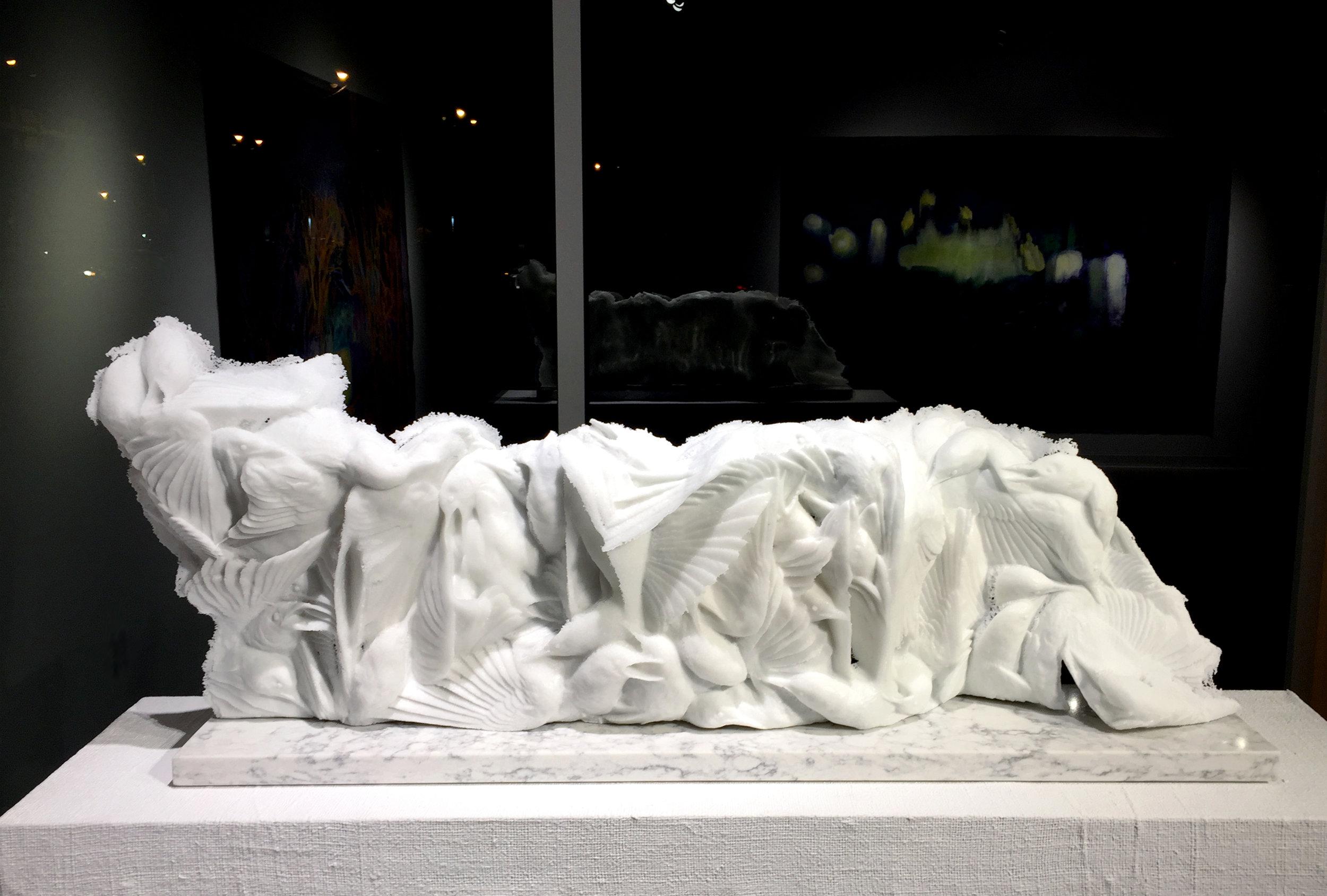 Katherine Rutecki,  Cloud Extension,  pate-de-verre, 101x18x43 cm, 2018