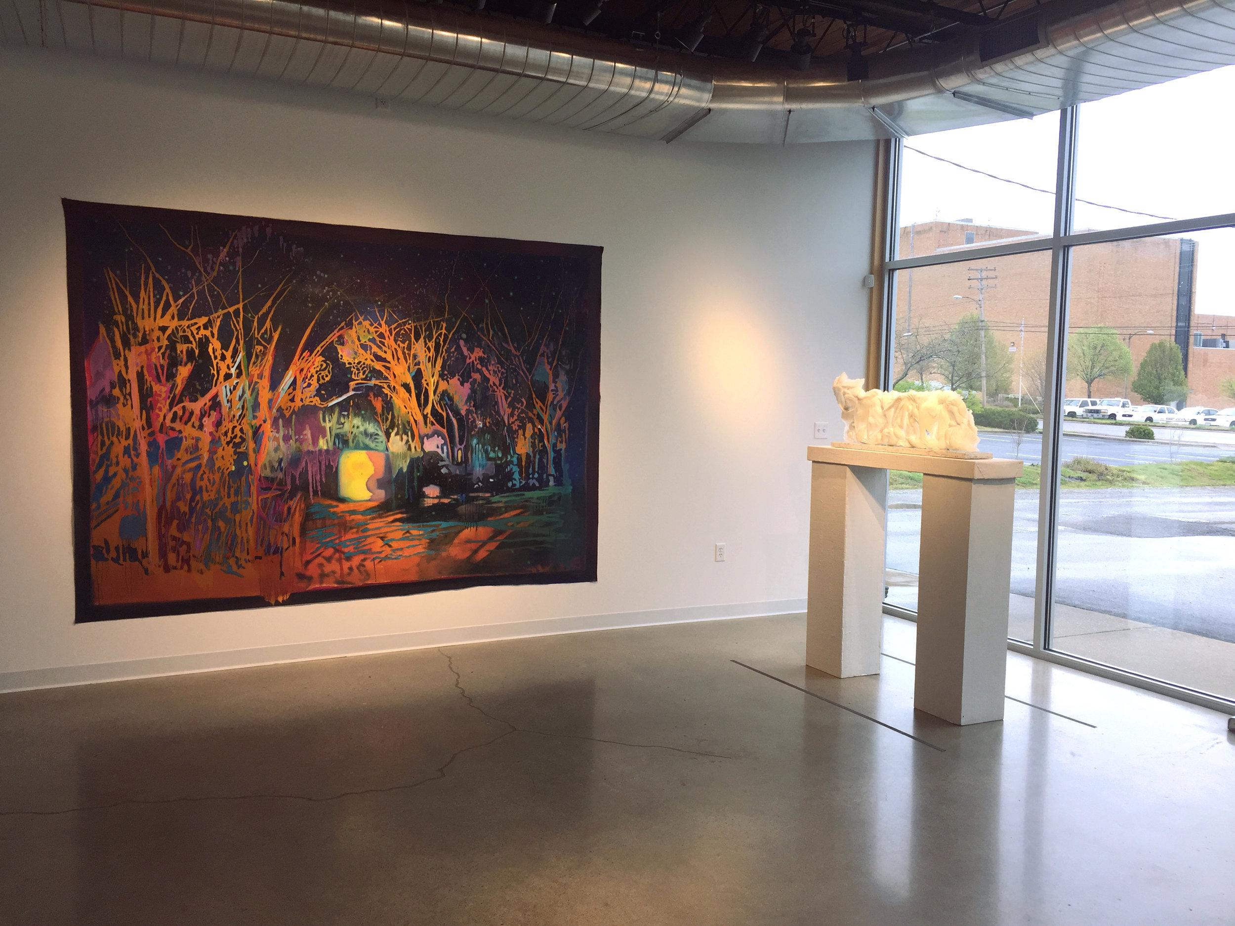 Jon Witzky,  A Relative Place, Unburdened Relaxed,  oil on canvas, 213x305 cm, 2018  Katherine Rutecki,  Cloud Extension,  pate-de-verre, stone, 101x18x43 cm, 2018