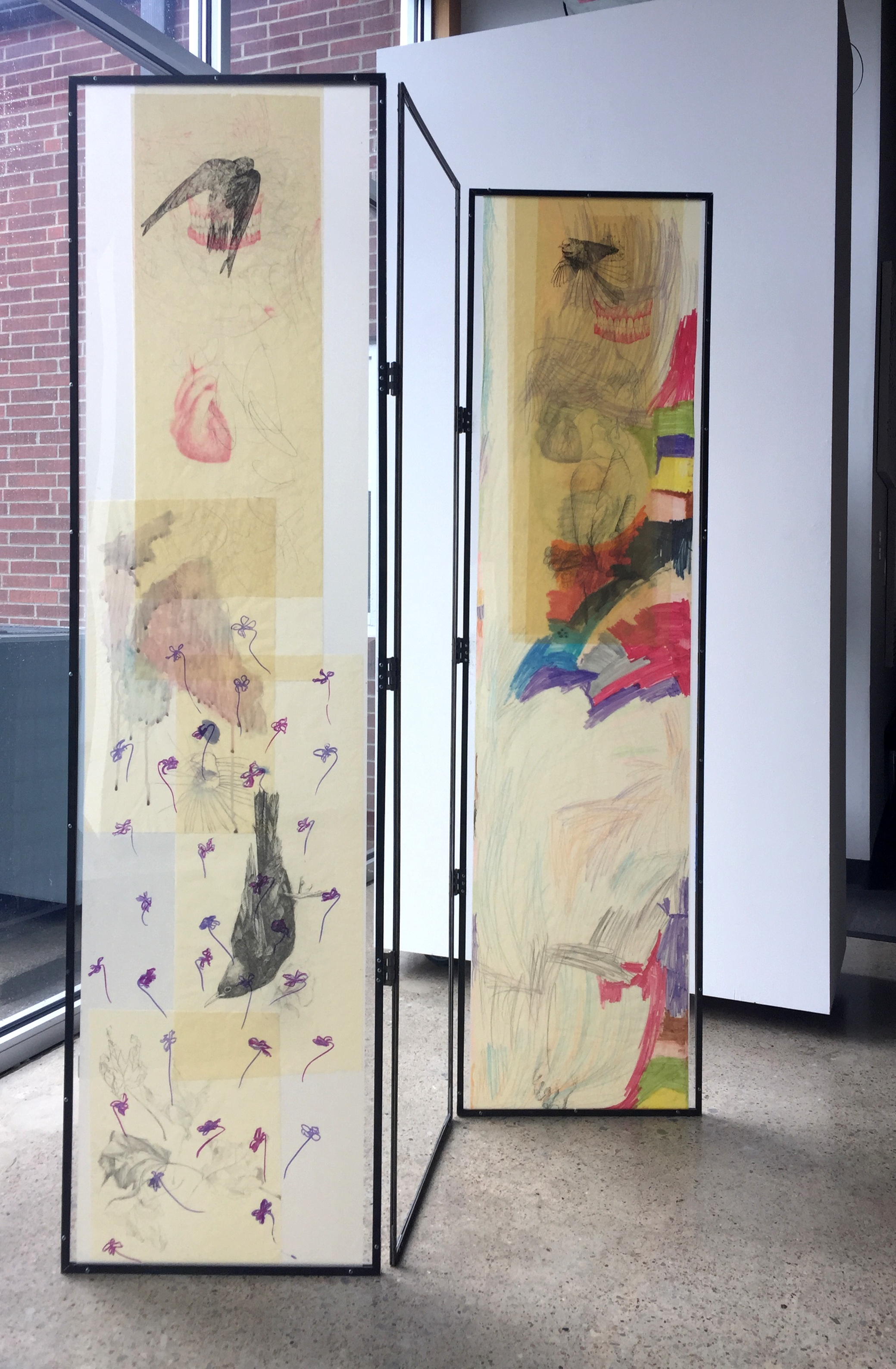 Katherine Rutecki,  Trifold Screen,  mixed media on paper, steel, plexiglass, with drawing inclusions by Frankie June Jacomb (daughter), 140x30x185