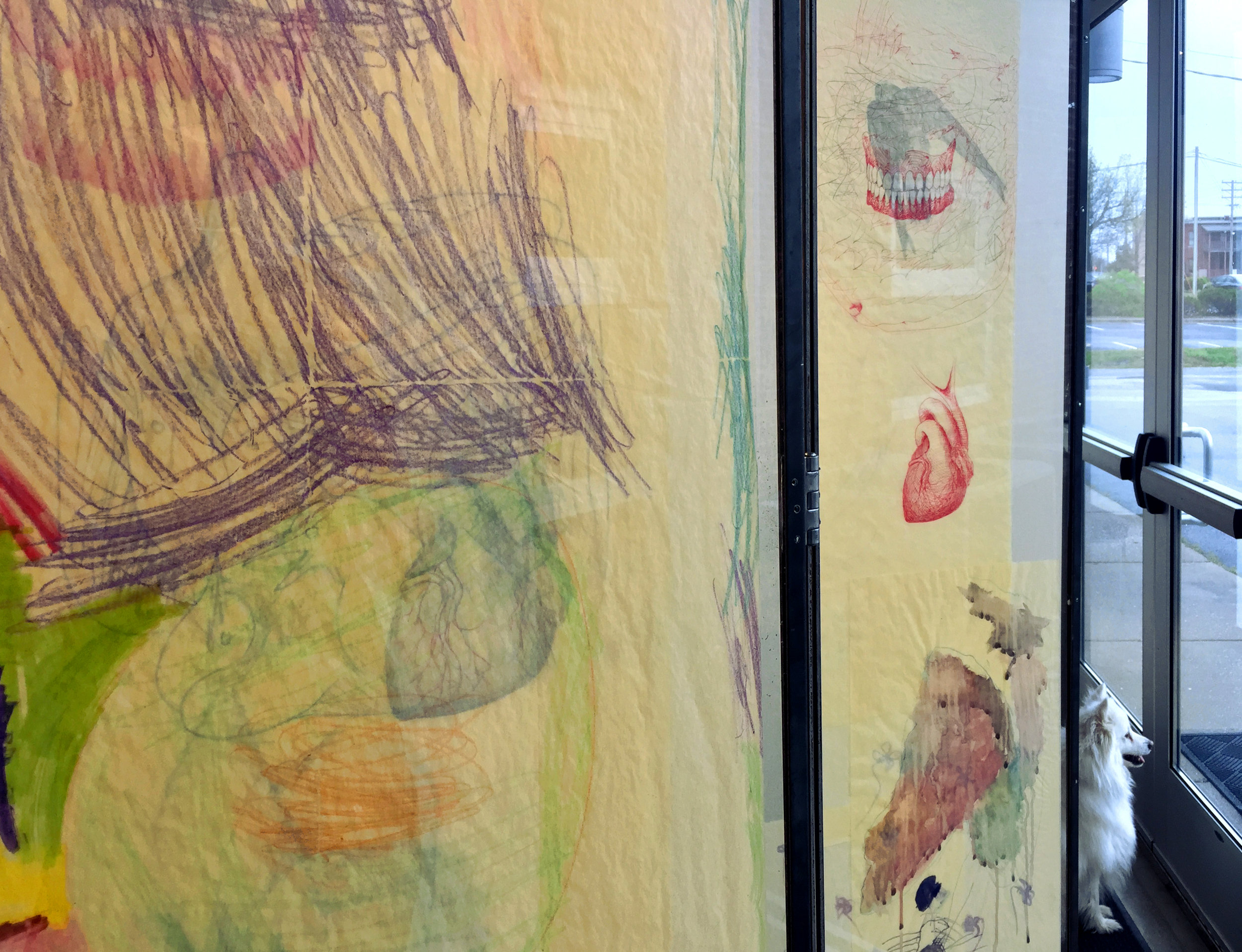 Katherine Rutecki,  Trifold Screen,  detail, mixed media on paper, steel, plexiglass, with drawing inclusions by Frankie June Jacomb (daughter), 140x30x185