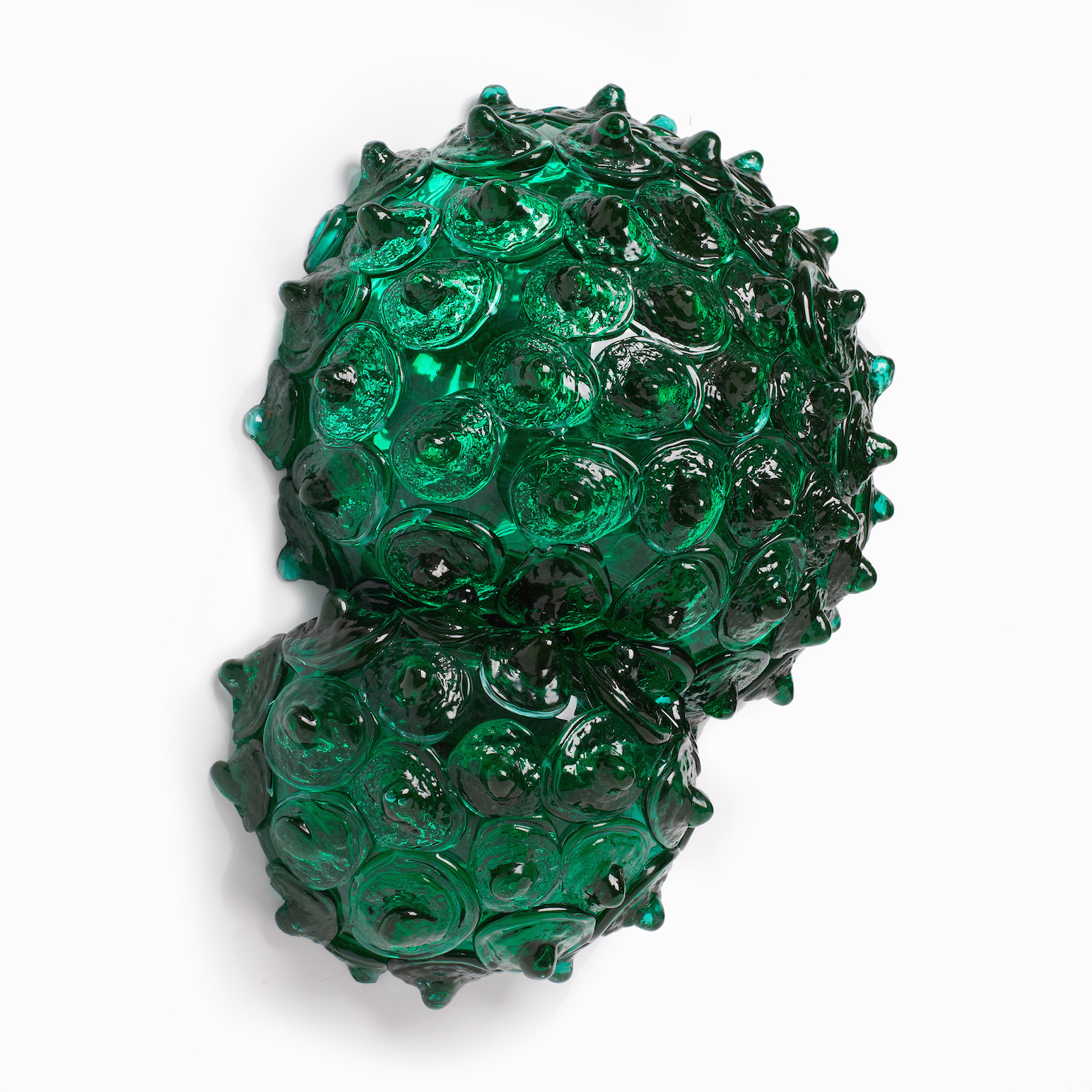 Katherine Rutecki,  Green Double Bubble no. 2,  blown and hot cast Uranium lagoon glass, mirror, birchwood ply, 330x10x36cm, 2016