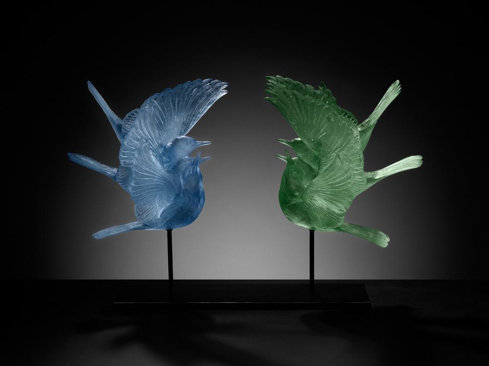 Katherine Rutecki,  Blue and Green,  lost wax cast crystal, steel mount, 56x30x50cm, 2011