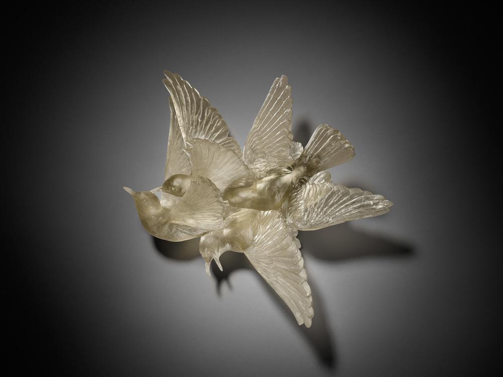 Katherine Rutecki,  Grey,  lost wax cast crystal, 43x51x18cm, 2011