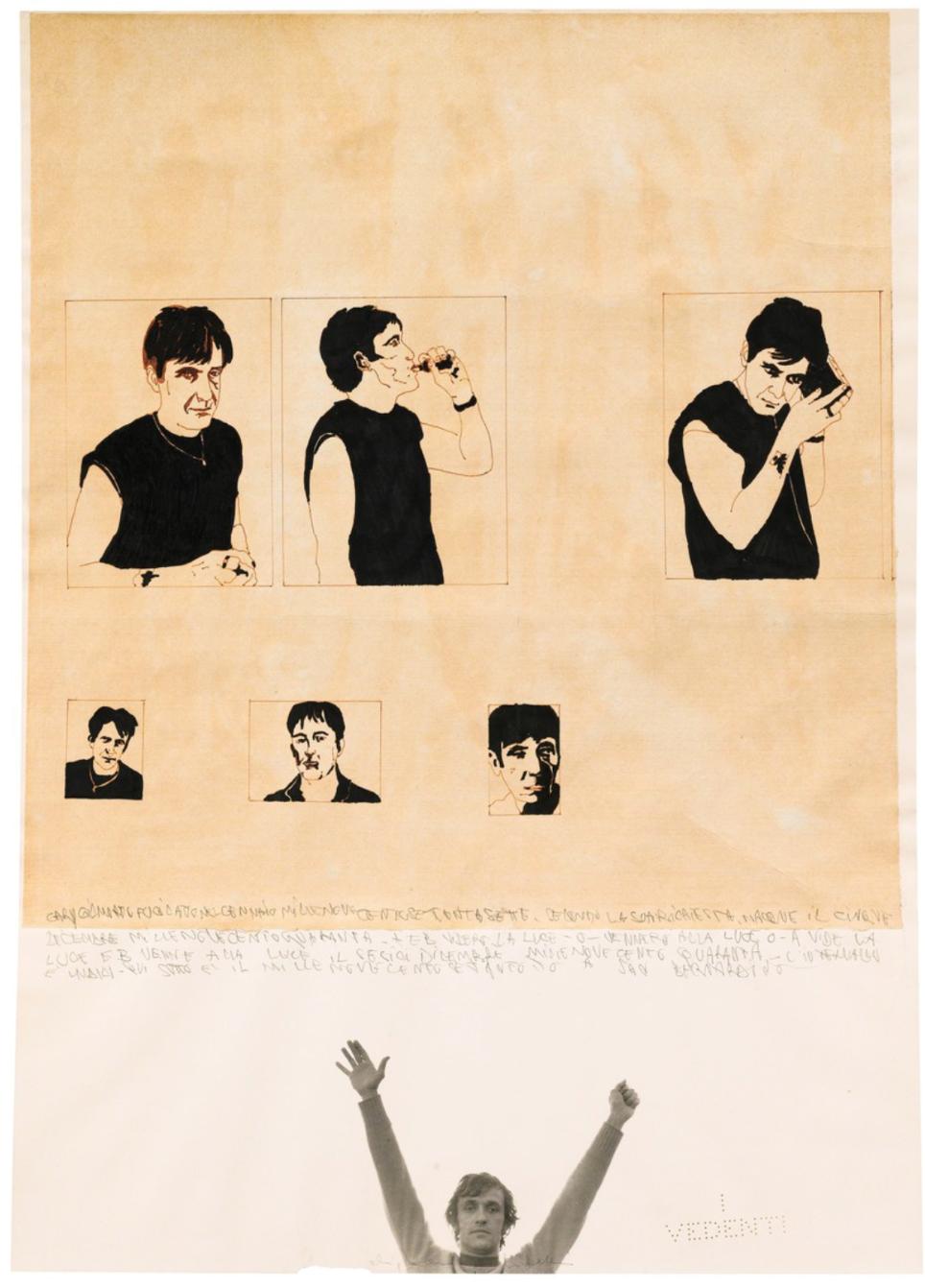 Alighiero e Boetti,  San Bernardino (Gary Gilmore) , 1978, Collage and mixed media on paper.